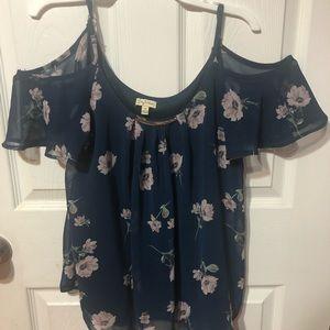 Floral print cold shoulder blouse